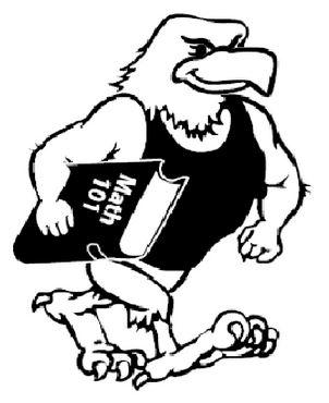 Tough looking eagle carrying a math 101 book